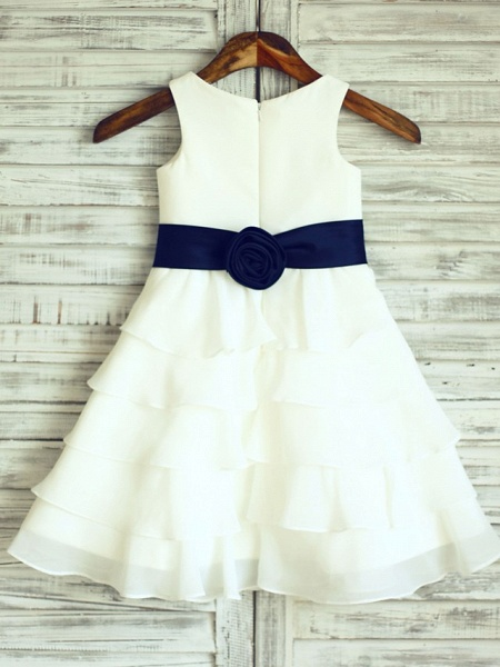 A-Line Knee Length Wedding / First Communion Flower Girl Dresses - Chiffon / Satin Sleeveless Scoop Neck With Sash / Ribbon_2