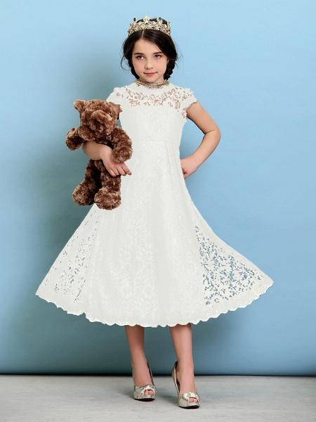 Princess / A-Line Jewel Neck Tea Length Lace Junior Bridesmaid Dress With Pleats / Natural_21