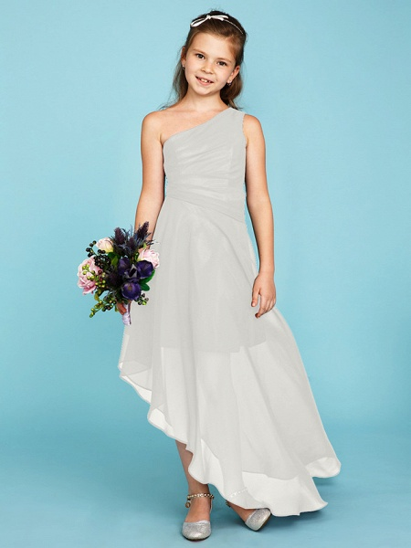 A-Line One Shoulder Asymmetrical Chiffon Junior Bridesmaid Dress With Side Draping / Wedding Party_48
