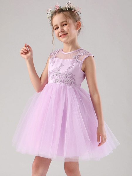 Princess / Ball Gown Medium Length Wedding / Birthday Flower Girl Dresses - Satin / Tulle Sleeveless Jewel Neck With Beading / Appliques / Solid_5