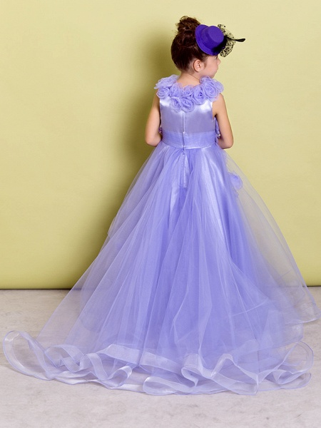A-Line Sweep / Brush Train Pageant Flower Girl Dresses - Organza Sleeveless Jewel Neck With Ruched / Flower_3