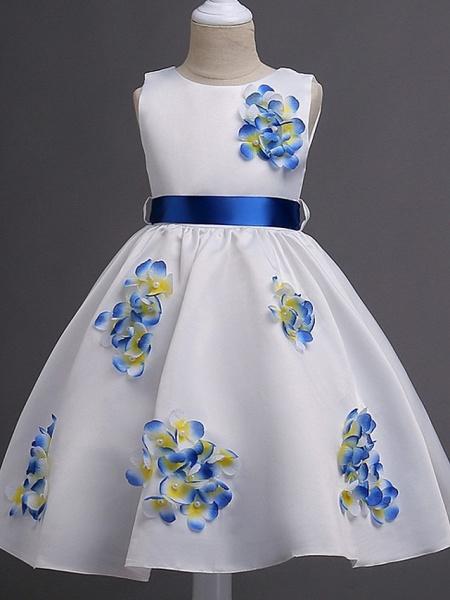 Princess / Ball Gown Knee Length Wedding / Party Flower Girl Dresses - Satin Sleeveless Jewel Neck With Sash / Ribbon / Bow(S) / Flower_3