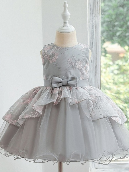 Princess / Ball Gown Knee Length Wedding / Party Flower Girl Dresses - Tulle Sleeveless Jewel Neck With Bow(S) / Tier_4