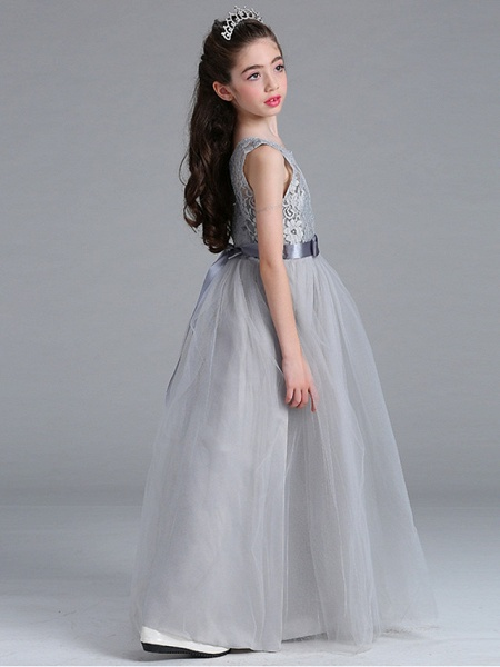 Princess / A-Line Round Floor Length Lace / Tulle Junior Bridesmaid Dress With Bow(S)_6