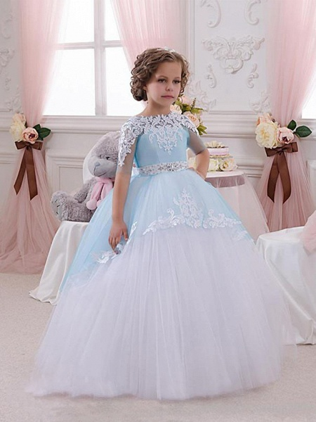 Princess Floor Length Wedding / Birthday / Pageant Flower Girl Dresses - Lace / Tulle Short Sleeve Jewel Neck With Lace / Appliques / Crystals / Rhinestones_1