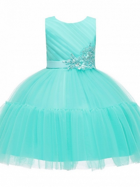 Princess / Ball Gown Knee Length Wedding / Party Flower Girl Dresses - Tulle Sleeveless Jewel Neck With Sash / Ribbon / Bow(S) / Appliques_7