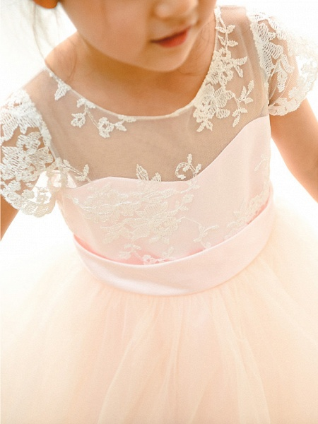 Ball Gown Floor Length Wedding / Birthday / Pageant Flower Girl Dresses - Lace / Tulle Short Sleeve Jewel Neck With Belt / Buttons_4