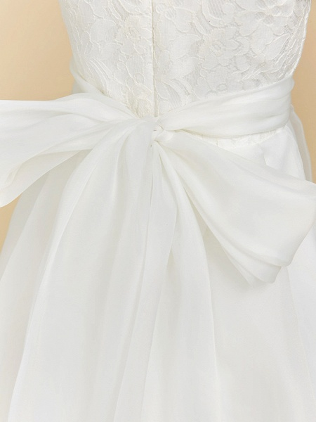 A-Line Floor Length Wedding / First Communion Flower Girl Dresses - Lace / Satin Short Sleeve Square Neck With Bow(S)_6