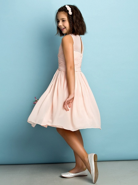 A-Line Jewel Neck Knee Length Chiffon Junior Bridesmaid Dress With Criss Cross / Natural / Mini Me_8