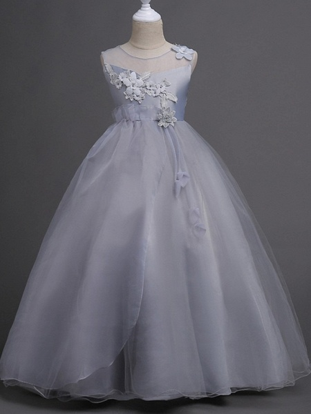 Princess / Ball Gown Floor Length Wedding / Party Flower Girl Dresses - Tulle Sleeveless Illusion Neck With Bow(S) / Appliques_3