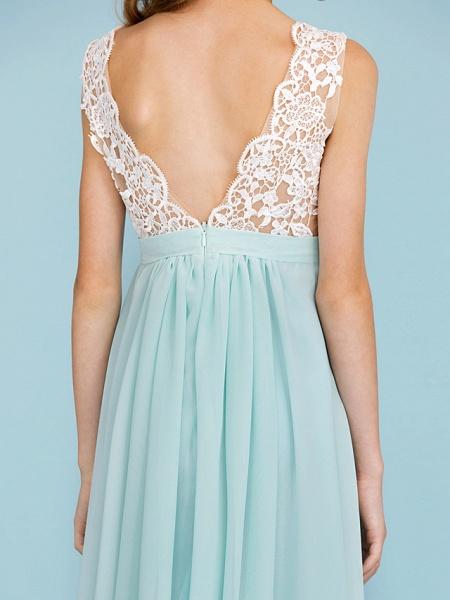 Sheath / Column V Neck Floor Length Chiffon / Lace Junior Bridesmaid Dress With Sash / Ribbon / Pleats / Color Block / Wedding Party / Open Back_8