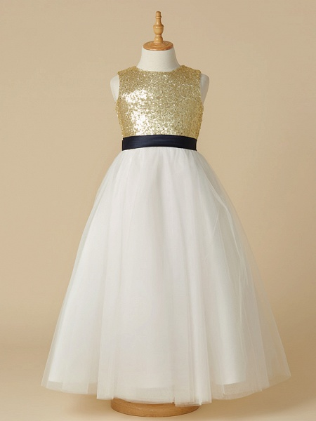 A-Line Ankle Length Pageant Flower Girl Dresses - Tulle / Sequined Sleeveless Jewel Neck With Sash / Ribbon / Bow(S)_1