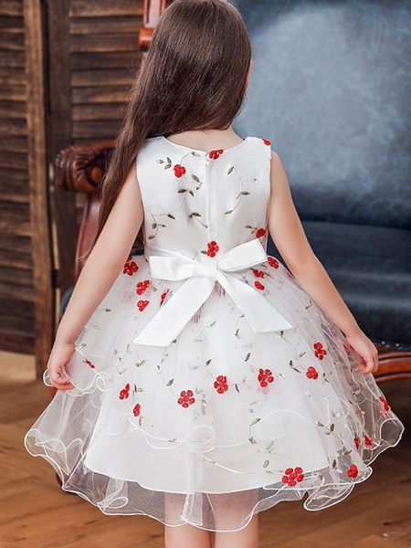 Princess / Ball Gown Knee Length Wedding / Party Flower Girl Dresses - Satin / Tulle Sleeveless Jewel Neck With Bow(S) / Flower_3