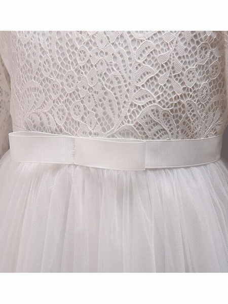 Princess Floor Length Wedding / Party / Pageant Flower Girl Dresses - Lace / Tulle / Cotton Half Sleeve Jewel Neck With Lace / Belt_21