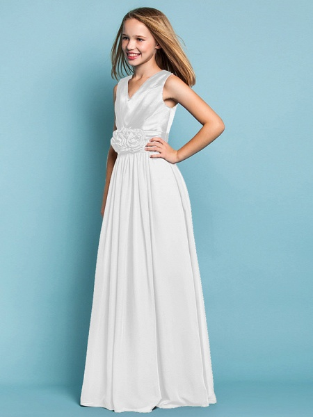 Sheath / Column V Neck Floor Length Chiffon Junior Bridesmaid Dress With Flower / Spring / Summer / Fall / Apple / Hourglass_37