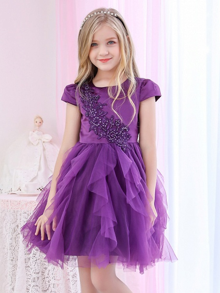 Princess / Ball Gown Royal Length Train / Medium Length Wedding / Event / Party Flower Girl Dresses - Satin / Tulle Cap Sleeve Jewel Neck With Beading / Appliques / Tiered_3