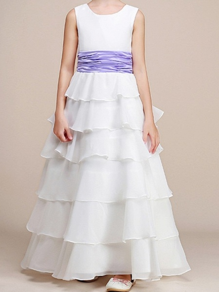 A-Line Floor Length Pageant Flower Girl Dresses - Polyester Sleeveless Jewel Neck With Ruching_1