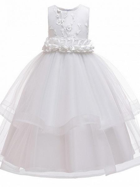 Princess Round Floor Length Cotton Junior Bridesmaid Dress With Bow(S) / Appliques_2