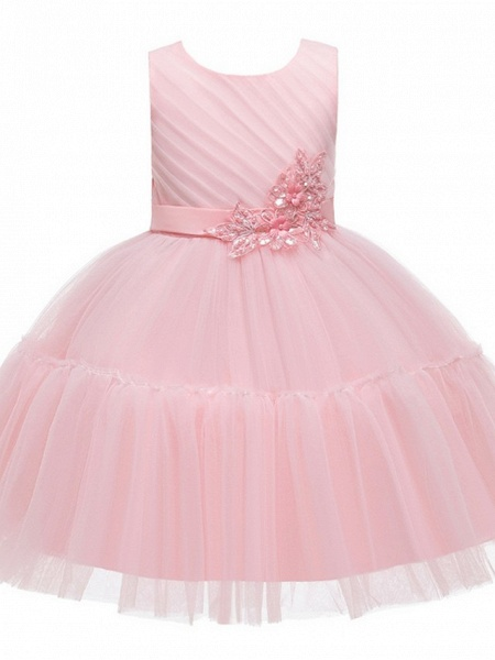 Princess / Ball Gown Knee Length Wedding / Party Flower Girl Dresses - Tulle Sleeveless Jewel Neck With Sash / Ribbon / Bow(S) / Appliques_6