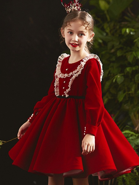Princess / A-Line Knee Length Party / Birthday Flower Girl Dresses - Cotton Blend Long Sleeve Jewel Neck With Lace / Beading / Cascading Ruffles_1