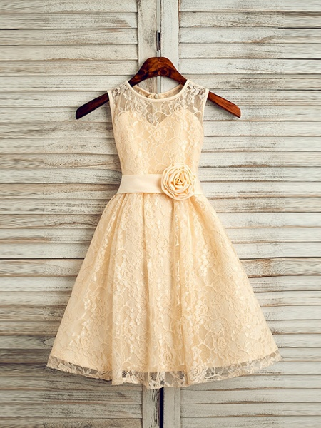 A-Line Tea Length Wedding / First Communion / Pageant Flower Girl Dresses - Lace / Satin Sleeveless Jewel Neck With Sash / Ribbon_1