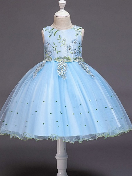Ball Gown Knee Length Wedding / Party Flower Girl Dresses - Tulle Sleeveless Jewel Neck With Bow(S) / Beading / Appliques_4