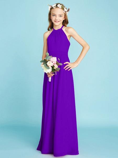 A-Line Halter Neck Floor Length Chiffon Junior Bridesmaid Dress With Sash / Ribbon / Natural_38