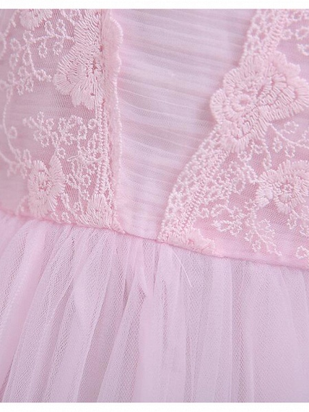 Princess Knee Length Wedding / Party / Pageant Flower Girl Dresses - Lace / Tulle / Cotton Cap Sleeve Square Neck With Lace / Belt_9