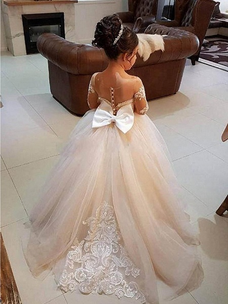Ball Gown Sweep / Brush Train Wedding / First Communion / Pageant Flower Girl Dresses - Lace / Satin / Tulle Long Sleeve Boat Neck With Lace / Appliques_2