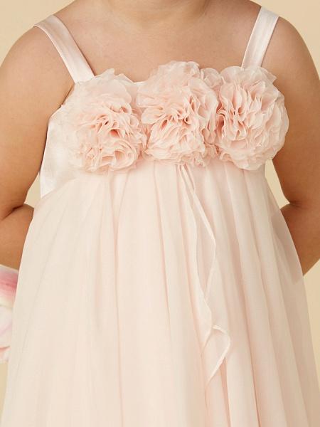 Sheath / Column Tea Length Pageant Flower Girl Dresses - Chiffon Sleeveless Straps With Flower_4
