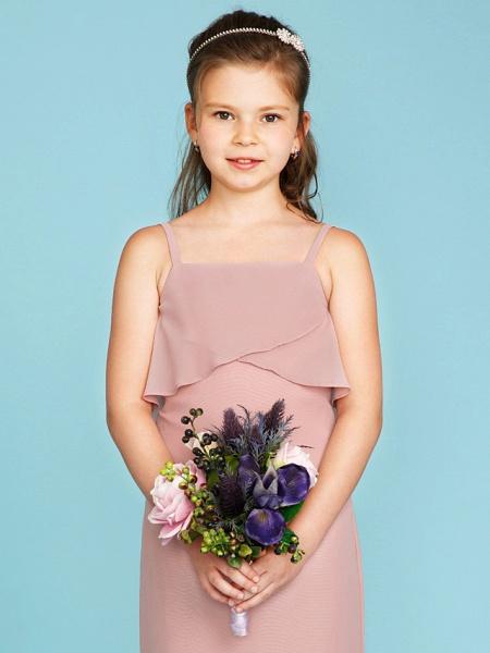 Sheath / Column Spaghetti Strap Sweep / Brush Train Chiffon Junior Bridesmaid Dress With Tiered / Wedding Party / Open Back_4