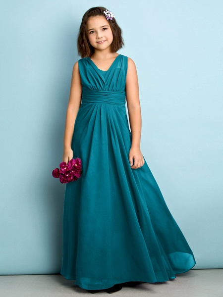 A-Line V Neck Floor Length Chiffon Junior Bridesmaid Dress With Criss Cross / Natural / Mini Me_26
