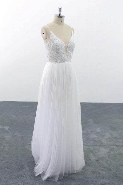 SD1955 Spaghetti Strap Pearls Boho Wedding Dress_5