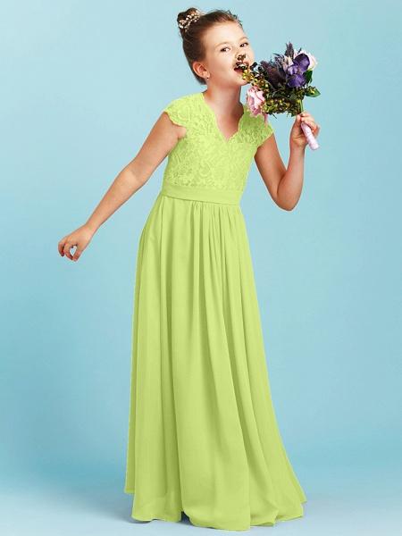 Princess / A-Line V Neck Floor Length Chiffon / Lace Junior Bridesmaid Dress With Sash / Ribbon / Pleats / Wedding Party_40