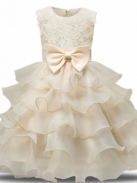 Princess Midi Wedding / First Communion Flower Girl Dresses - Lace / Tulle Sleeveless Jewel Neck With Bows / Belt / Bow(S)_5
