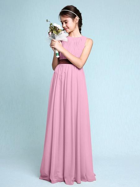 Sheath / Column Scoop Neck Floor Length Chiffon Junior Bridesmaid Dress With Draping / Natural_12