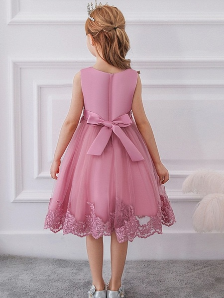 Ball Gown Knee Length Wedding / Party Flower Girl Dresses - Tulle Sleeveless Jewel Neck With Bow(S) / Appliques_7