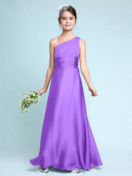 Sheath / Column One Shoulder Floor Length Chiffon Satin Junior Bridesmaid Dress With Ruched / Side Draping / Natural_31