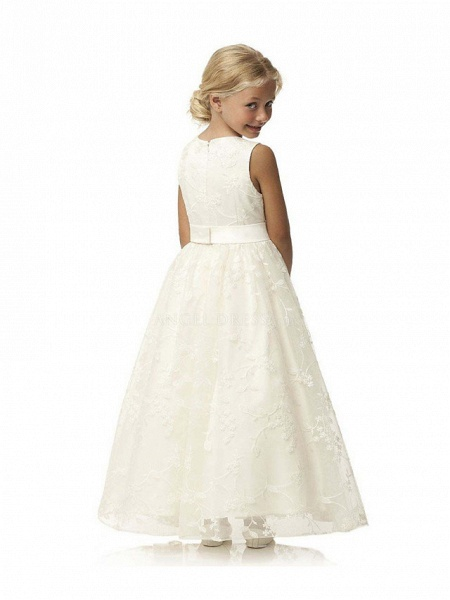 Ball Gown Long Length Wedding / First Communion / Birthday Flower Girl Dresses - Tulle / Cotton Sleeveless Jewel Neck With Embroidery / Solid_4