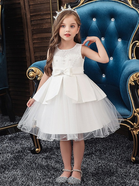 A-Line Knee Length Wedding / Party Communion Dresses - Tulle / Matte Satin / Poly&Cotton Blend Sleeveless Jewel Neck With Lace / Bow(S) / Beading_1