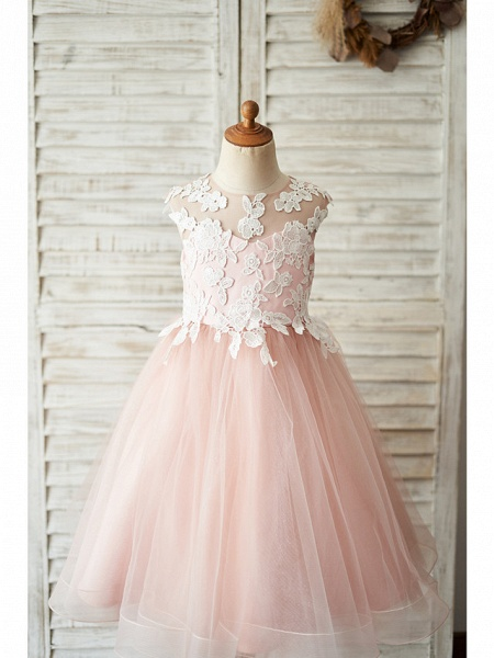 Ball Gown Knee Length Wedding / Birthday Flower Girl Dresses - Satin / Tulle Sleeveless Jewel Neck With Bow(S) / Appliques_1