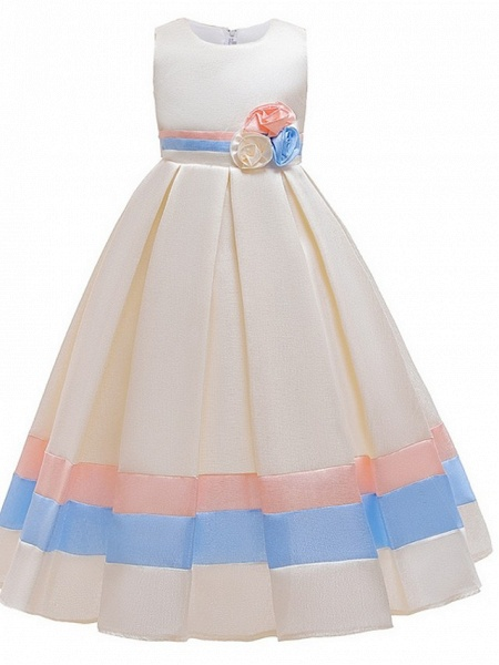 A-Line Round Floor Length Cotton Junior Bridesmaid Dress With Bow(S) / Ruching_2