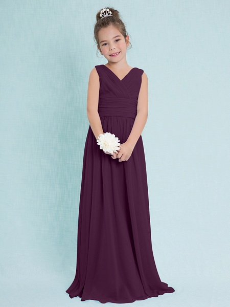 Sheath / Column V Neck Floor Length Chiffon Junior Bridesmaid Dress With Criss Cross / Ruched / Natural_16