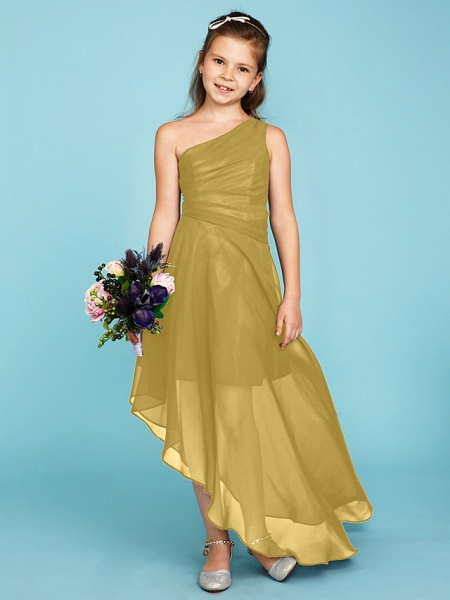 A-Line One Shoulder Asymmetrical Chiffon Junior Bridesmaid Dress With Side Draping / Wedding Party_37