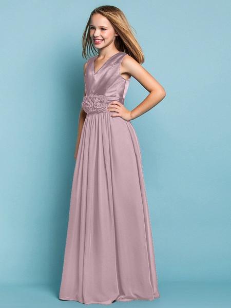 Sheath / Column V Neck Floor Length Chiffon Junior Bridesmaid Dress With Flower / Spring / Summer / Fall / Apple / Hourglass_23