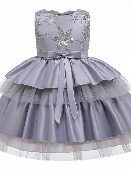 A-Line Knee Length Wedding / Birthday / Pageant Flower Girl Dresses - Cotton Blend Sleeveless Jewel Neck With Petal / Sash / Ribbon / Trim_4
