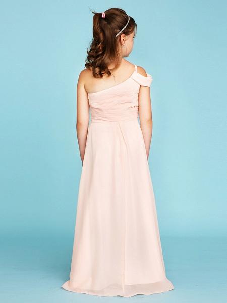 Princess / A-Line One Shoulder Floor Length Chiffon Junior Bridesmaid Dress With Sash / Ribbon / Side Draping / Wedding Party / Open Back_2