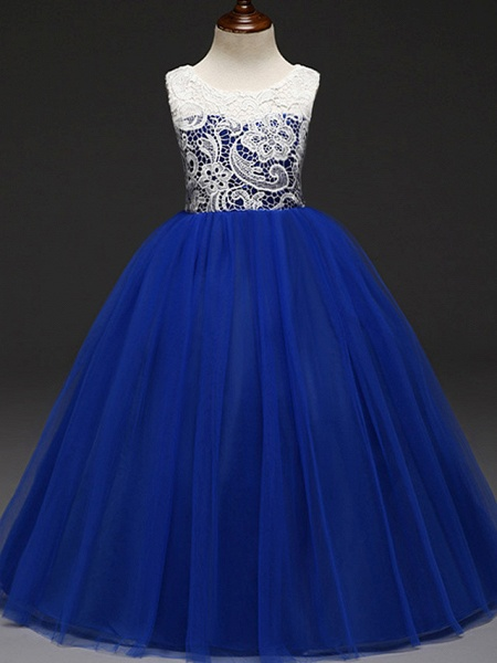 Ball Gown Floor Length Wedding / Party Flower Girl Dresses - Lace / Tulle Sleeveless Jewel Neck With Tiered_2