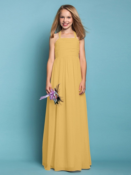 Sheath / Column Halter Neck Floor Length Chiffon Junior Bridesmaid Dress With Ruched / Spring / Summer / Fall / Apple / Hourglass_22
