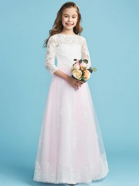Princess / A-Line Crew Neck Floor Length Lace Junior Bridesmaid Dress With Lace_4